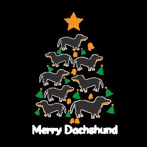 Dachshund Dackel Weihnachten Tannenbaum