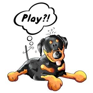 Rottweiler denkt sich Play