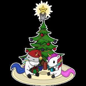 Einhörner Weihnachtsbaum Illustration