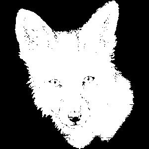 Fuchs-Portrait schwarz-weiß (für dunkle Produkte)