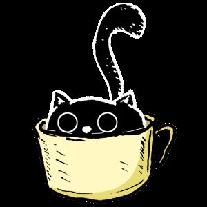Katze mit großen Augen sitzt in Tasse Geschenk