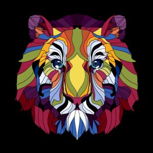 bunter Löwe Mähne König Wildtiere Afrika Geschenk
