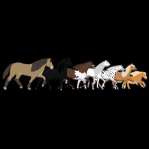Pferderreihe laeuft