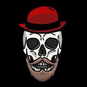 Totenkopf Schädel Gruftie Horror Mister Tod Hut
