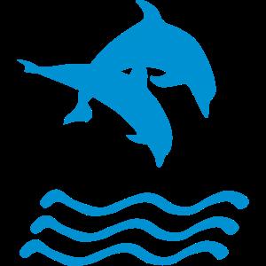 Delfine und Wellen einfarbig