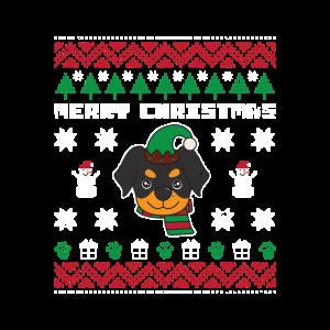 Rottweiler Ugly Christmas Strickmuster