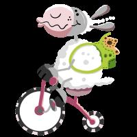 Schaf fährt Fahrrad