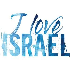 Blauer Schriftzug I Love Israel