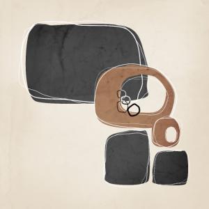 Retro abstraktes Design in Zimt und Holzkohle