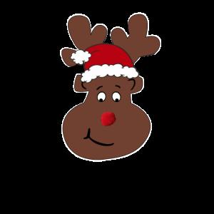 Lustiges Rentier mit Weihnachtsmann Mütze