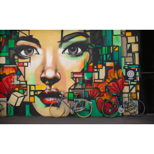 Street Art - Frau auf Mauer