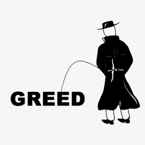 Pissing Man against greed