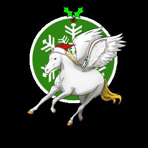Süß klein kinder Pegasus fliegen Weihnachten