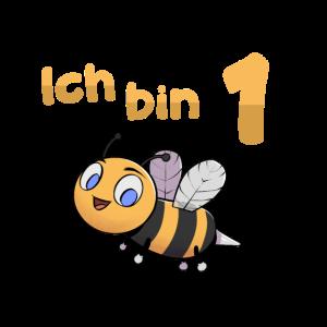 Ich bin Eins 1 Jahr Biene Erster 1. Geburtstag