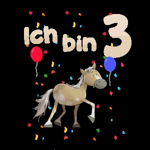 Ich bin Drei 3 Jahre Pony Dritter 3. Geburtstag