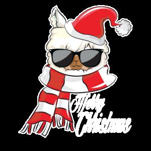 Merry Christmas Lama Weihnachten Geschenk