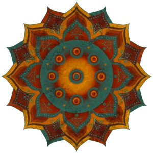 HANDPAN hang drum MANDALA teal red brown