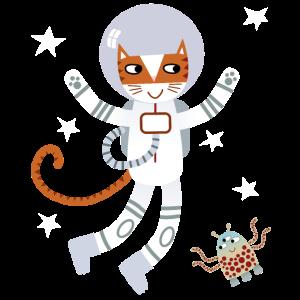Kaliko-Katzenastronaut im Weltraum