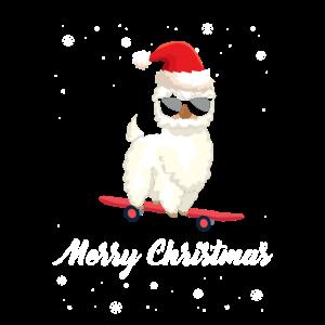 Lama mit Weihnachtsmütze und auf ein Skateboard