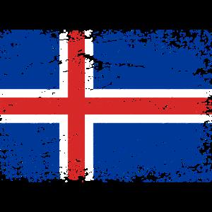Island Flagge Used Look