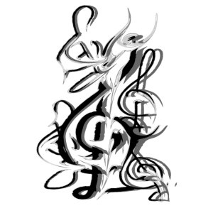 Notenschlüssel abstrakt Schwarz Weiß