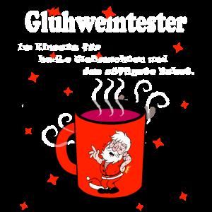 Glühweintester heißer Weihnachtsmann Tasse Spruch