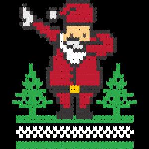 Dabbing Santa. Im Strickmuster Design.