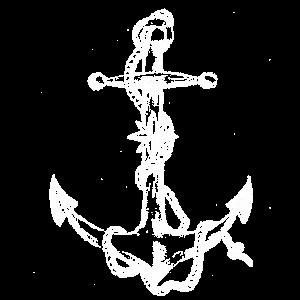 Maritimer Piraten Anker weiß