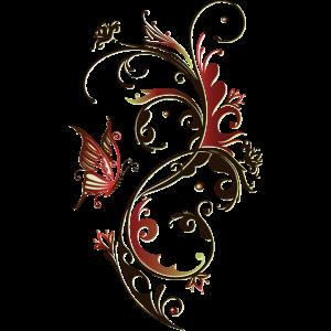 Blumenranke mit Schmetterling, rot und braun
