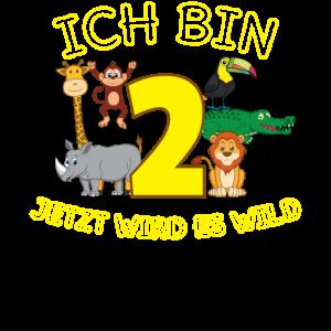 Geburtstag 2 Jahre Kind Affe Löwe Zoo Geschenk