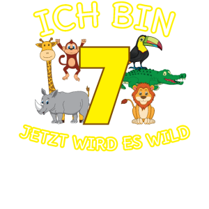 7. Geburtstag 7 Jahre Kind Affe Löwe Zoo Geschenk