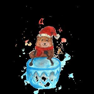 Little Drummer Boy Bär Aquarell Watercolor