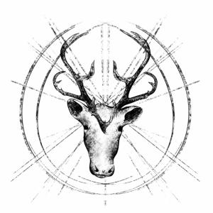Rentier geometrisch in schwarz und weiß