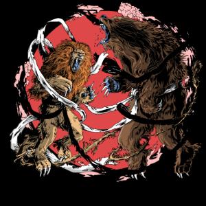 Löwe gegen Bär