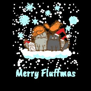 Weihnachten Merry Fluffmas Katze Kätzchen Süß