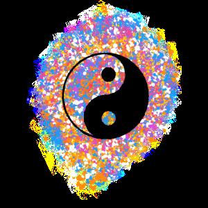 Yin Yang, Farbspritzer, Punkte, Farbe, bunt,