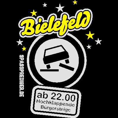 Bielefeld - hochklappende Bürgersteige - Dieses Shirtmotiv mit dem Namen Deines Wohnortes? Schreib' einfach eine Mail mit Deinem Wuschnamen an spassprediger at web.de! - witzig,nichts los,lustig,Wiesn,Westfalen,Tote Hose,Sterne,Sprüche,Spruch,Provinz,Party,Oktoberfest,Nordrhein,Nachtruhe,Nacht,NRW,Mond,Langeweile,Kuhkaff,Kuhdorf,Kaff,Hauptstadt,Feiern,Bundesland,Bielefeld