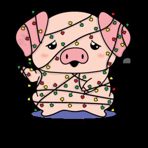 Schweinchen Schwein in Lichterkette verwickelt