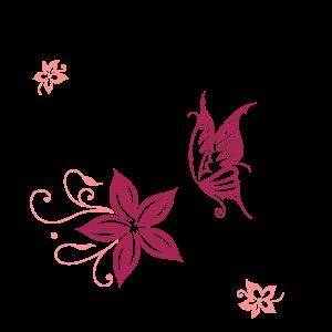 Florales Ornament mit Blüten und Schmetterling.