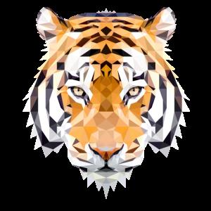 Tiger Polygon Geometrisch orange braune augen