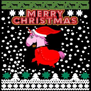 Einhorn Ugly Merry Christmas Frohe Weihnachten