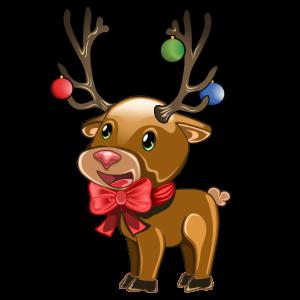 Süßes Rentier weihnachtlich dekoriert Geschenk