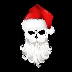Weihnachtsmann Totenkopf mit Bart