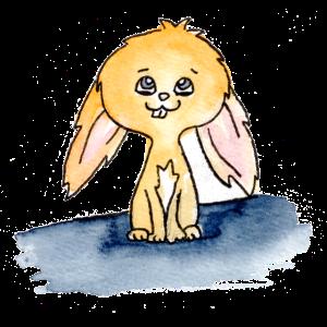 Niedliches Kaninchen, Aquarell