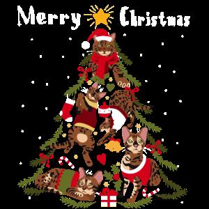 Bengalkatze Weihnachtsbaum Katze Weihnachten
