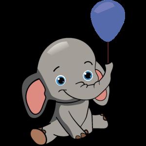 Babyfant Baby Elefant mit Luftballon