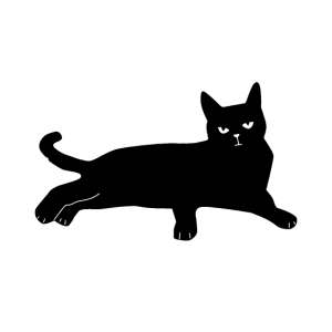 schwarze Katze Mieze liegend faul relax