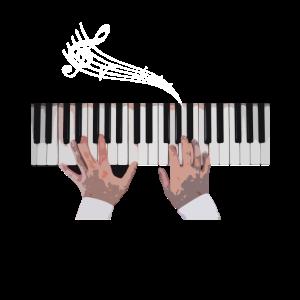 Hände auf Klavier Tastatur Geschenk
