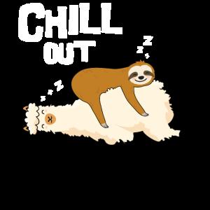 Chill out, Faultier schläft auf Lama, GEschenk