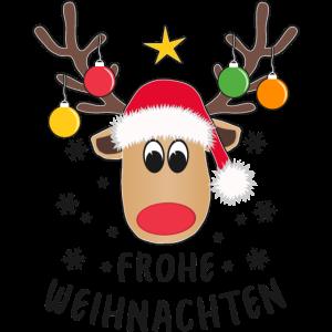 Rentier Frohe Weihnachten Weihnachtskugeln Lustig
